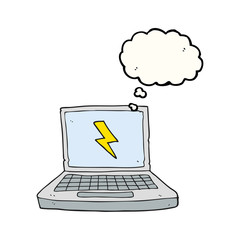 thought bubble cartoon laptop computer