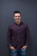portrait of young startup business man in plaid shirt