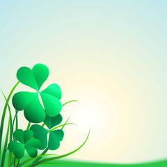 Three clover leaf on white background, vector illustration for St. Patrick's day.