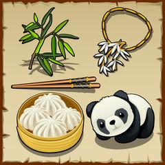 Japanese theme, set of food, animal and jewellery
