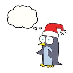 thought bubble cartoon christmas penguin