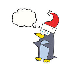 thought bubble cartoon christmas penguin