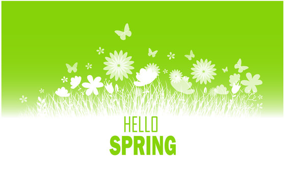 Spring background with flower, butterflies and grass silhouette