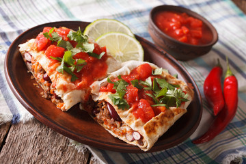 chimichanga with minced meat, vegetables and cheese close-up horizontal
