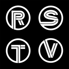 Capital letters R, S, T, V. From double white stripe in a black circle.  Overlapping with shadows. Logo, monogram, emblem trendy design.
