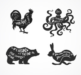 Wild animals silhouettes with lettering quots vector illustration