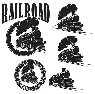 set of vector templates with locomotive, vintage train