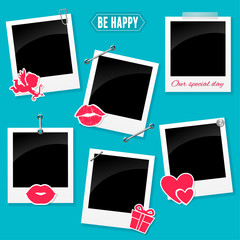 Valentine photo frame. Set of retro photo frame for your love story.