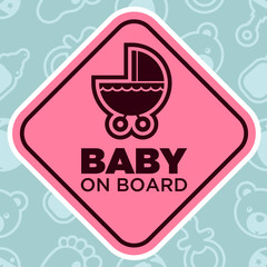 Baby on Board Sign with Stroller