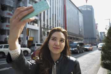 Young women who have taken the self-shot in the city