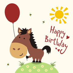 Happy birthday card, funny little horse with balloon, handwritten text