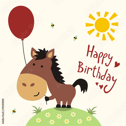 Happy birthday card funny little horse with balloon handwritten happy birthday card funny little horse with balloon handwritten text bookmarktalkfo Images