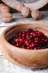 Ripe cranberries in bowls