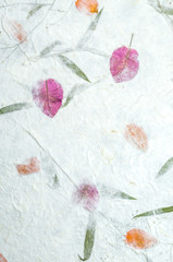 Mulberry paper with flowers texture background