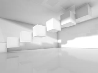 Empty white architecture, 3 d illustration
