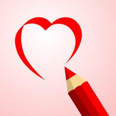 Icono plano lapiz dibujando corazon en fondo degradado