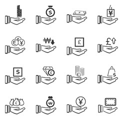 Hand and money icons set
