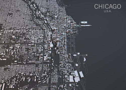 Chicago mappa, vista satellitare, Stati Uniti