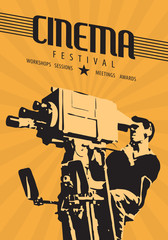 Cinema film festival poster template. Vector hand drawn retro illustration of a camera man shooting a movie scene with vintage camera.