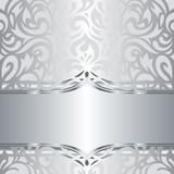 Shiny Silver Floral Decorative Holiday Vintage Invitation Wallpaper Background Design