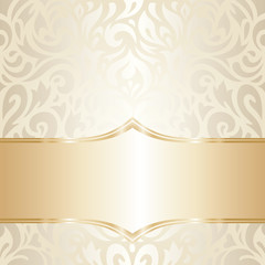Gorgeous golden floral Wedding vintage wallpaper background design
