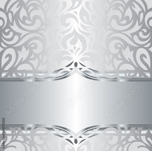 "Backdrops Silver Wedding Invitations: ""Shiny Silver Floral Decorative Holiday Vintage Invitation"