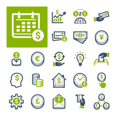 A selection of icons related to Finance, Banking and Currency (Part 2).