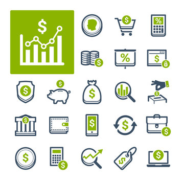 A selection of icons related to Finance, Banking and Currency (Part 1).