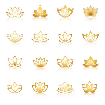 Golden Lotus symbol icons. Vector floral labels for Wellness ind