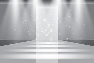 Empty catwalk, fashion runway illuminated vector