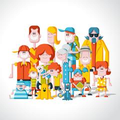 Colorful happy cartoon People. Big family.