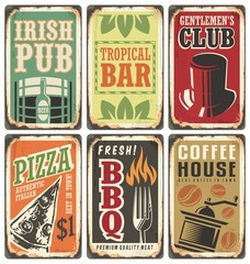 Retro metal signs vector set