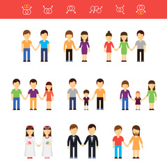 Vector flat illustration of same-sex couples male or female. Transgender partner, transgressive phenotype. Conception of freedom nontraditional homosexual lesbians partners and gays couples