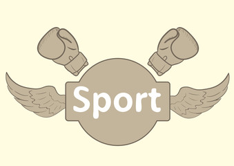 Sports inscription and boxing