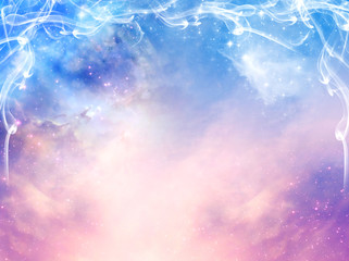 Wall Mural - magic mystical background with stars, glaxy and light beams in blue and pink tonality