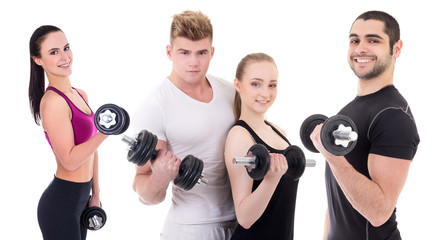 people in sportswear with dumbbells isolated on white