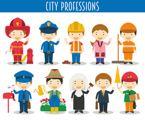 Vector Set of City Professions in cartoon style