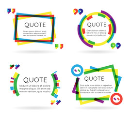 Colorful quote template information text blog business mobile isolated on white background vector illustration