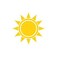 Flat sun summer vector bright icon on white