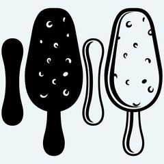 Ice cream in a black and white chocolate. Isolated on blue background. Vector silhouettes