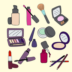 Set of makeup cosmetics products