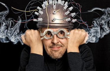 Crazy inventor with helmet