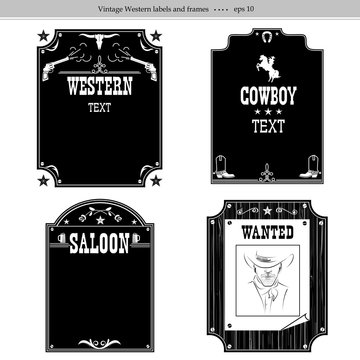 set of Western backgrounds.Vector black graphic labels isolated