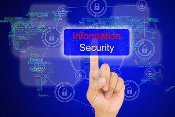 hand pressing  information security button on interface with wo