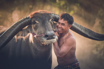 People Smile with Buffalo ih thailand.