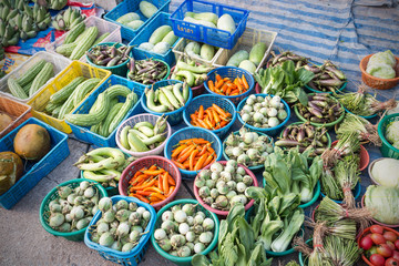 Fresh vegetables on the local market in Thailand