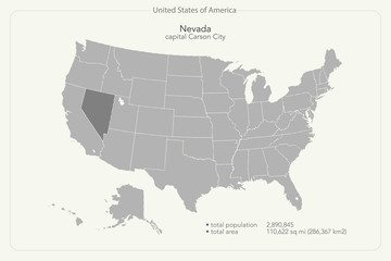 United States of America isolated map and Nevada State territory. vector USA political map. geographic banner template