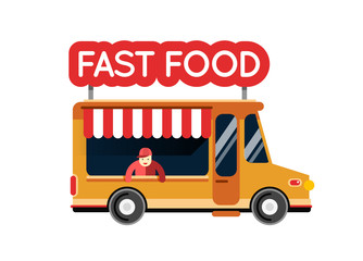 Fast food truck city car. Food hipster truck, auto cafe, mobile
