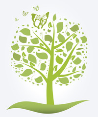 Silhouette of green tree and butterflies