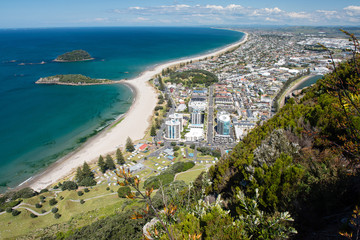 Aluminium Prints New Zealand Omanu Beach viewed from the top of Mount Maunganui, Bay of Plenty, North Island New Zealand
